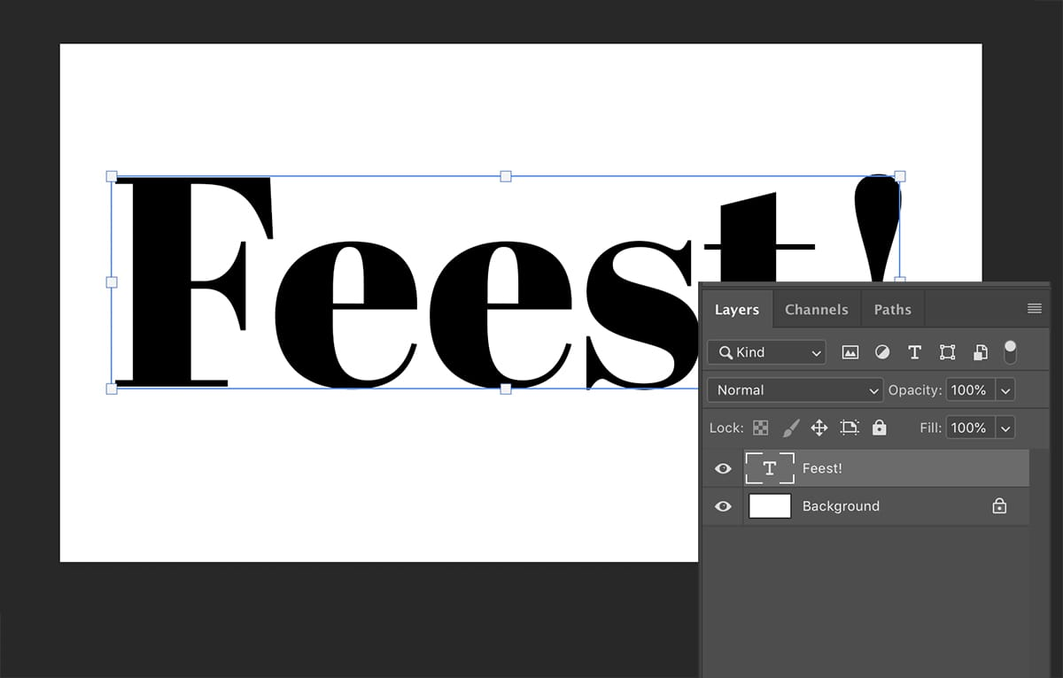 Stap 2: typ een tekst Photoshop