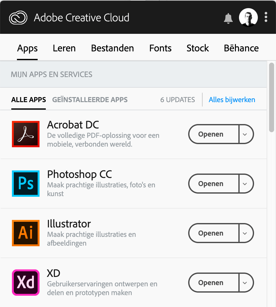 Open de Creative Cloud app