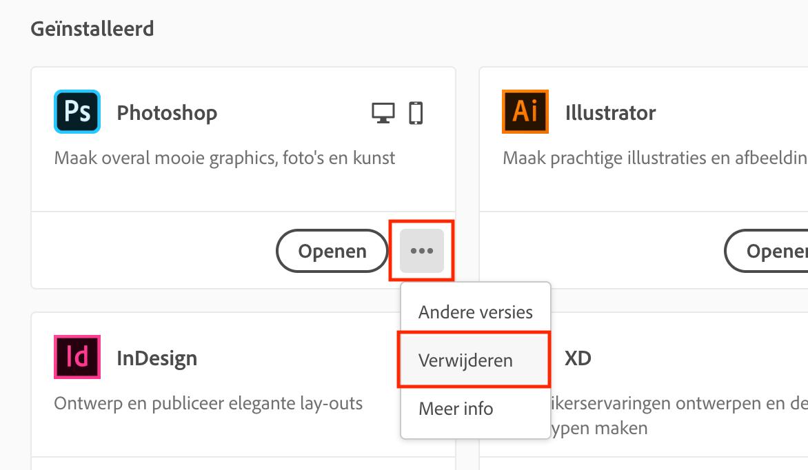Verwijder de Creative Cloud apps die in de verkeerde taal staan