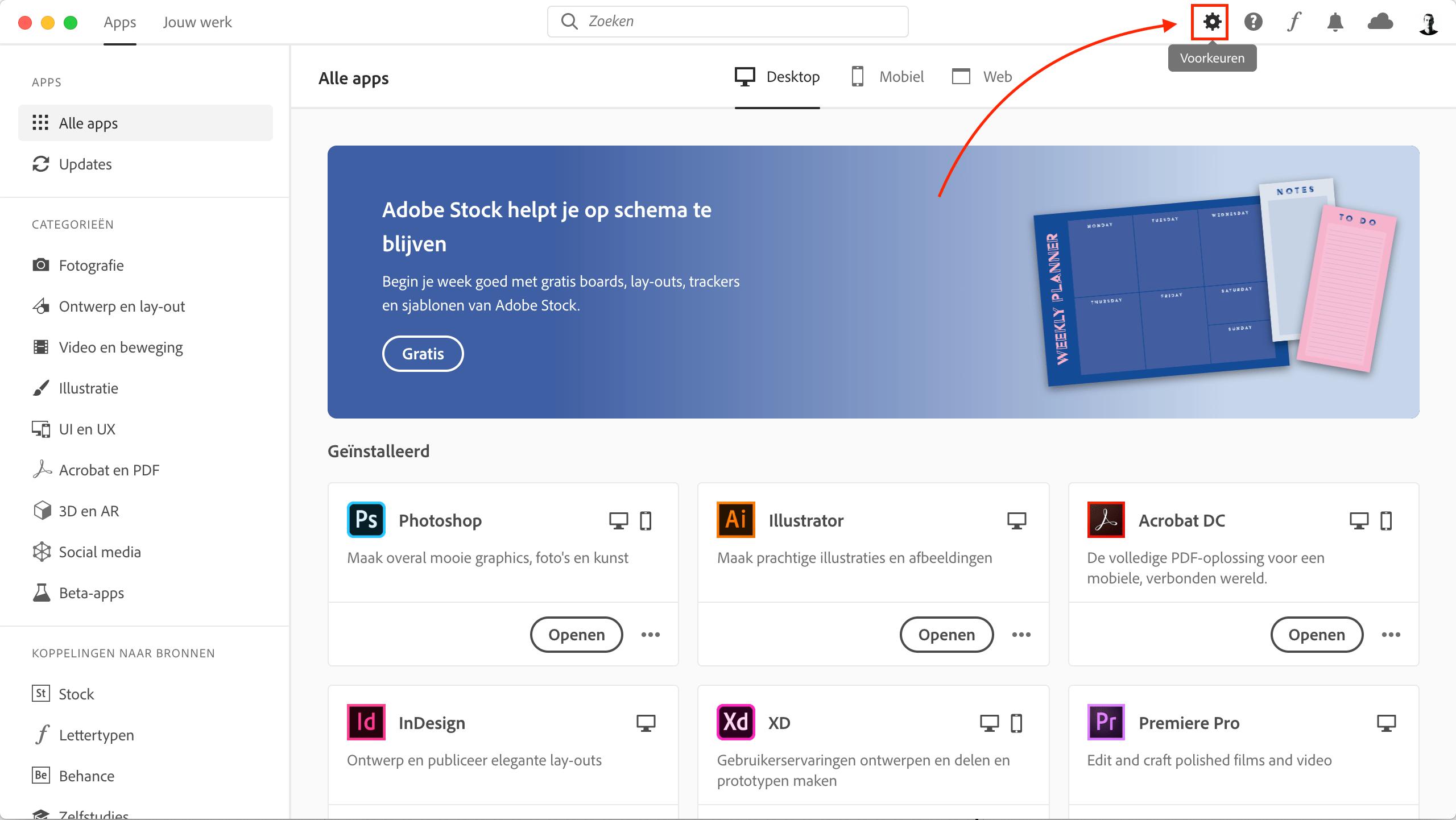 Open de Creative Cloud voorkeuren
