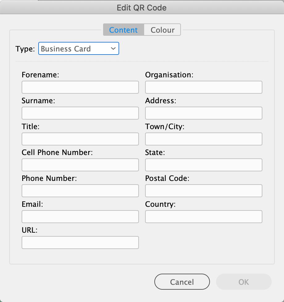 Visitekaartje QR Code InDesign