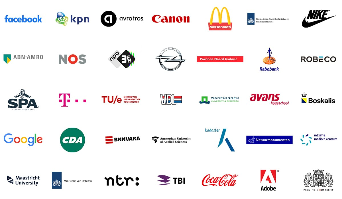 Recente deelnemers van de trainingen van DWM Trainingen: Facebook, KPN, AvroTros, Canon, McDonald's, Ministerie van Binnenlandse Zaken, Nike, ABN AMRO, NOS, NPO 3FM, Opel, Provincie Noord-Brabant, Rabobank, Robeco, Spa, T-Mobile, Technische Universiteit Eindhoven, VDL, Wageningen Universiteit, Avans Hogeschool, Boskalis, Google, CDA, BNNVARA, Hogeschool van Amsterdam, Kadaster, Natuurmonumenten, Maxima Medisch Centrum, Maastricht University, Ministerie van Defensie, NTR, TBI, Coca Cola, Adobe, Provincie Utrecht