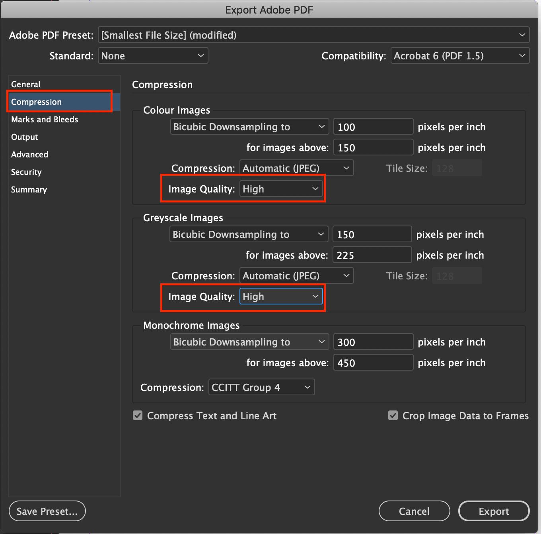 PDF voor beeldschermen stap 2: Compressie-instellingen