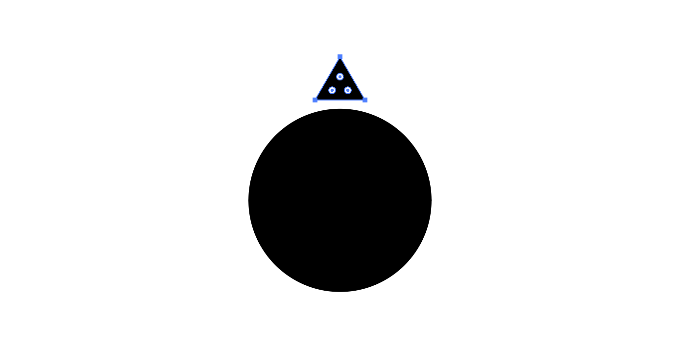 Stap 1: Teken twee objecten en lijn de zonnestraal uit in het midden van de cirkel
