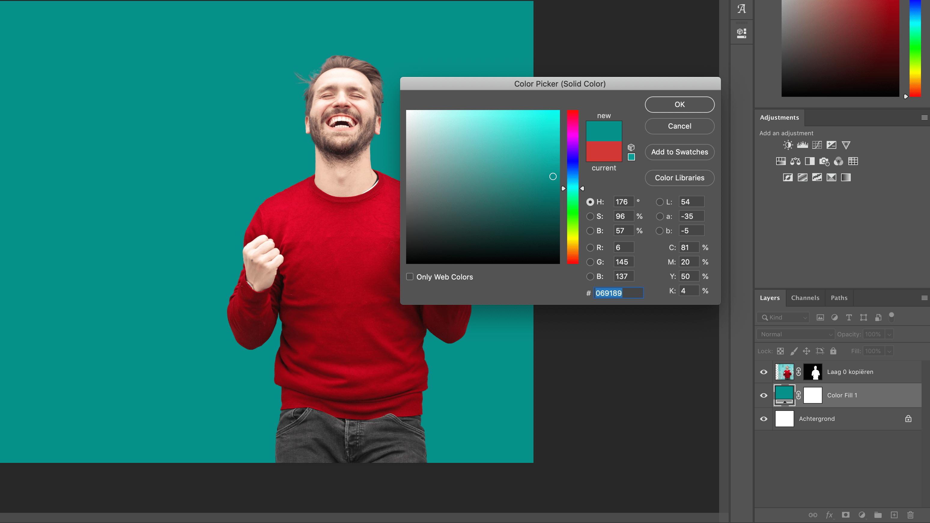 Kies een kleur in de Color Picker